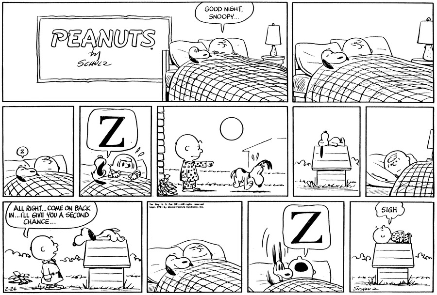 Peanuts Comic Strip for February 26, 1961