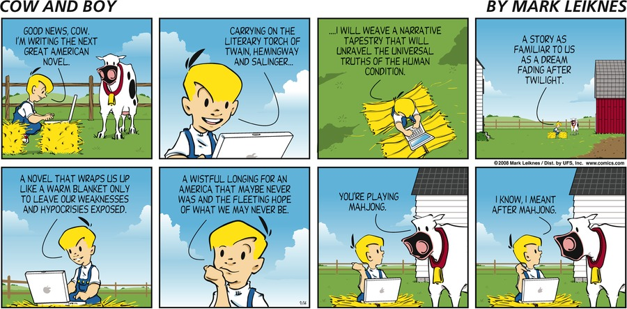 Cow and Boy Classics Comic Strip for September 14, 2008