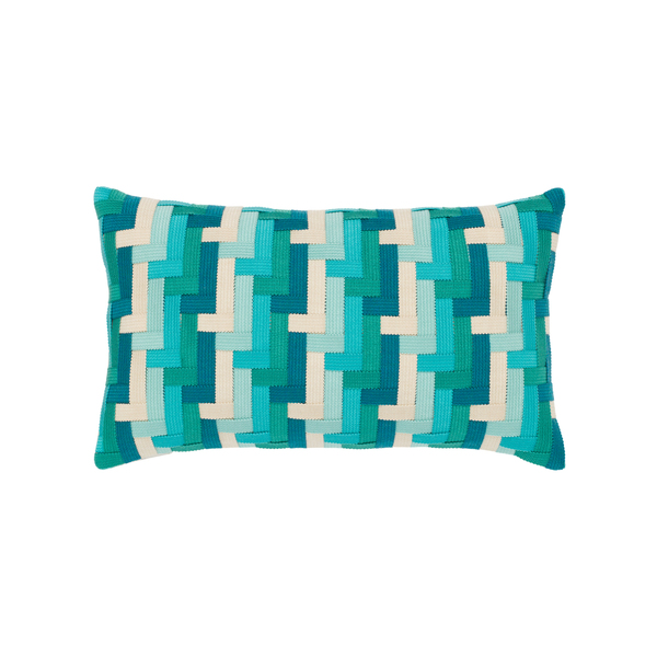 This 12-by-20-inch pillow from Elaine Smith adds texture with a pop of color, because it's handwoven in solution-dyed ribbons of aquamarine, turquoise and vellum in an intricate geometric basket-weave pattern. The fade, water- and stain-resistant pillow is filled with a sealed insert of 100 percent polyester fiber (faux down upgrade available) and has a tailored, hidden zipper that allows easy cover removal for cleaning.