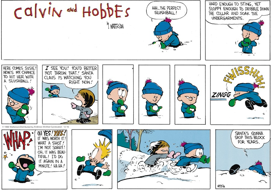 Calvin and Hobbes Comic Strip for December 16, 2018