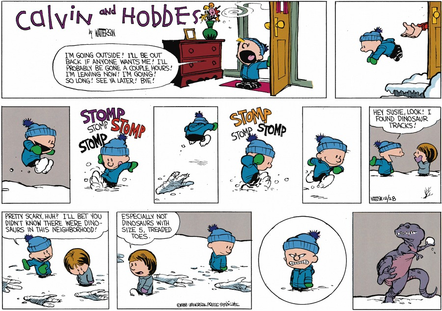Calvin and Hobbes Comic Strip for February 07, 1988
