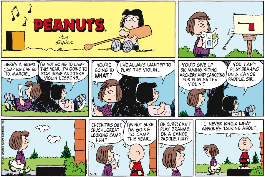 Peppermint Patty: Here's a great camp we can go to, Marcie.