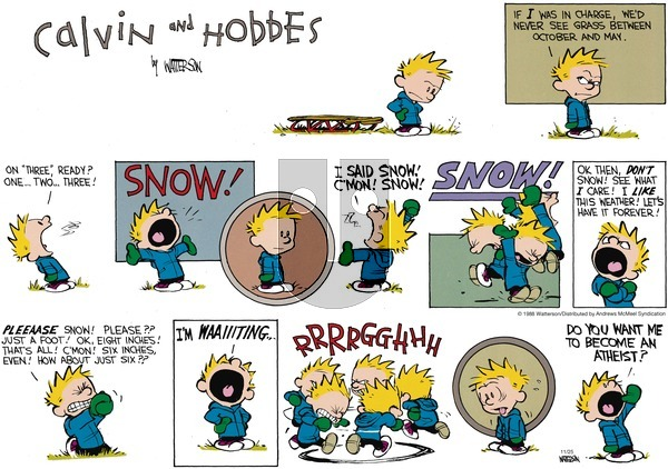 Calvin and Hobbes - Sunday November 25, 2018 Comic Strip