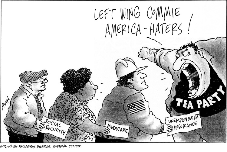 Tea Party: Left wing Commie America-haters!