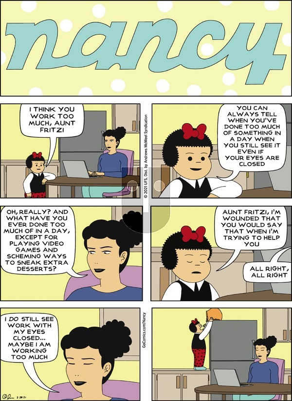 Nancy on Sunday February 28, 2021 Comic Strip