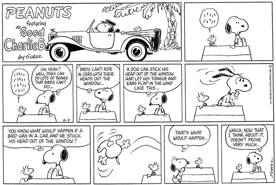 Peanuts for Aug 9, 1981 Comic Strip