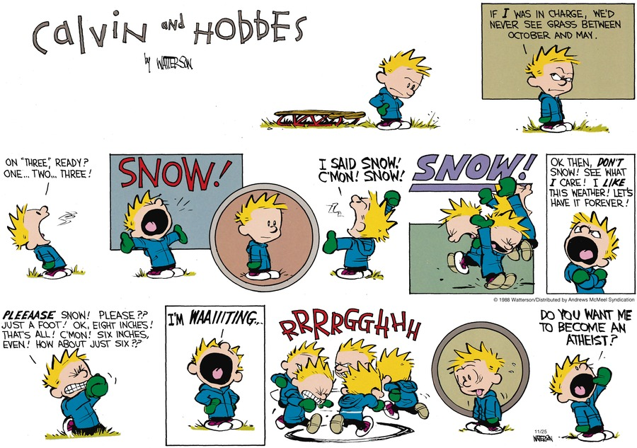 Calvin and Hobbes Comic Strip for November 25, 2018