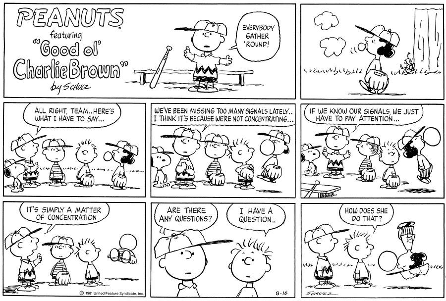 Peanuts for Aug 16, 1981 Comic Strip