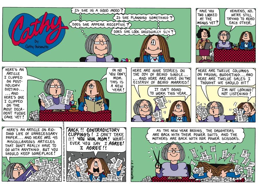 Cathy for Jan 5, 1997 Comic Strip