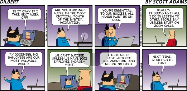 Dilbert on Sunday April 4, 2021 Comic Strip