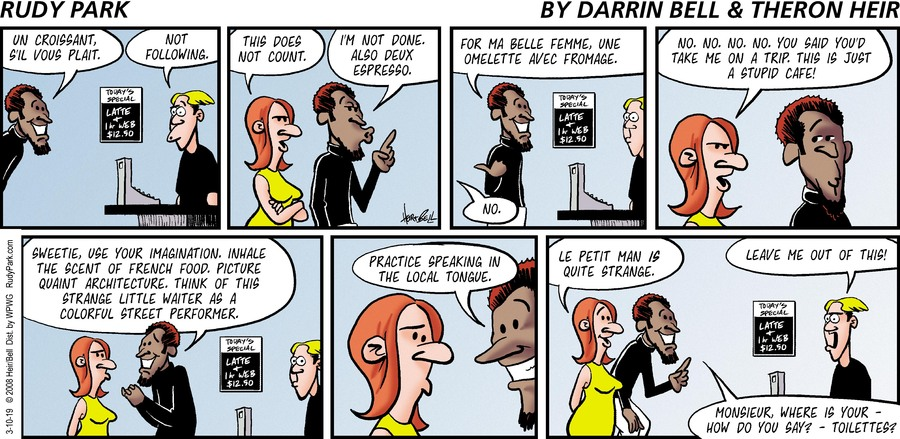 Rudy Park by Darrin Bell and Theron Heir for March 10, 2019