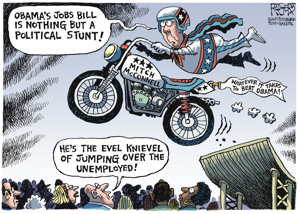 Mitch McConnell: Obama's jobs bill is nothing but a political stunt! Man: He's the Evel Knievel of jumping over the unemployed!