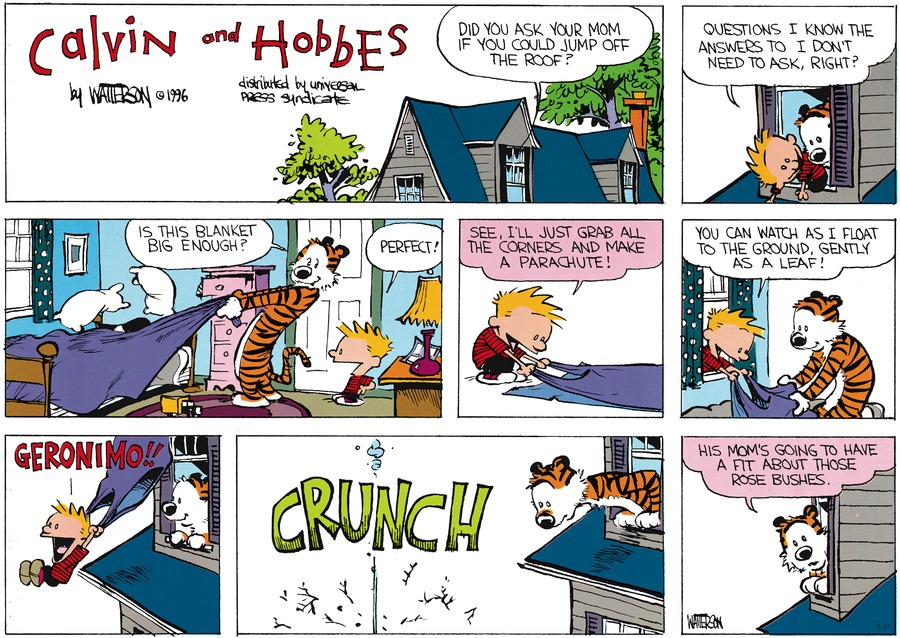 Calvin and Hobbes Comic Strip for March 27, 2016