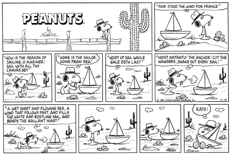 Peanuts Comic Strip for November 10, 1991