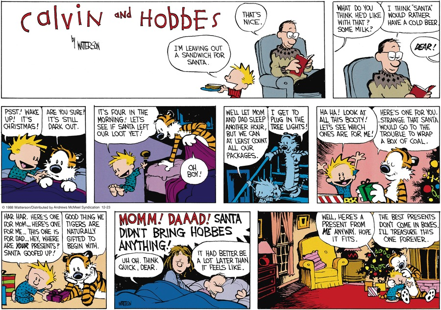 Calvin and Hobbes by Bill Watterson for December 23, 2018