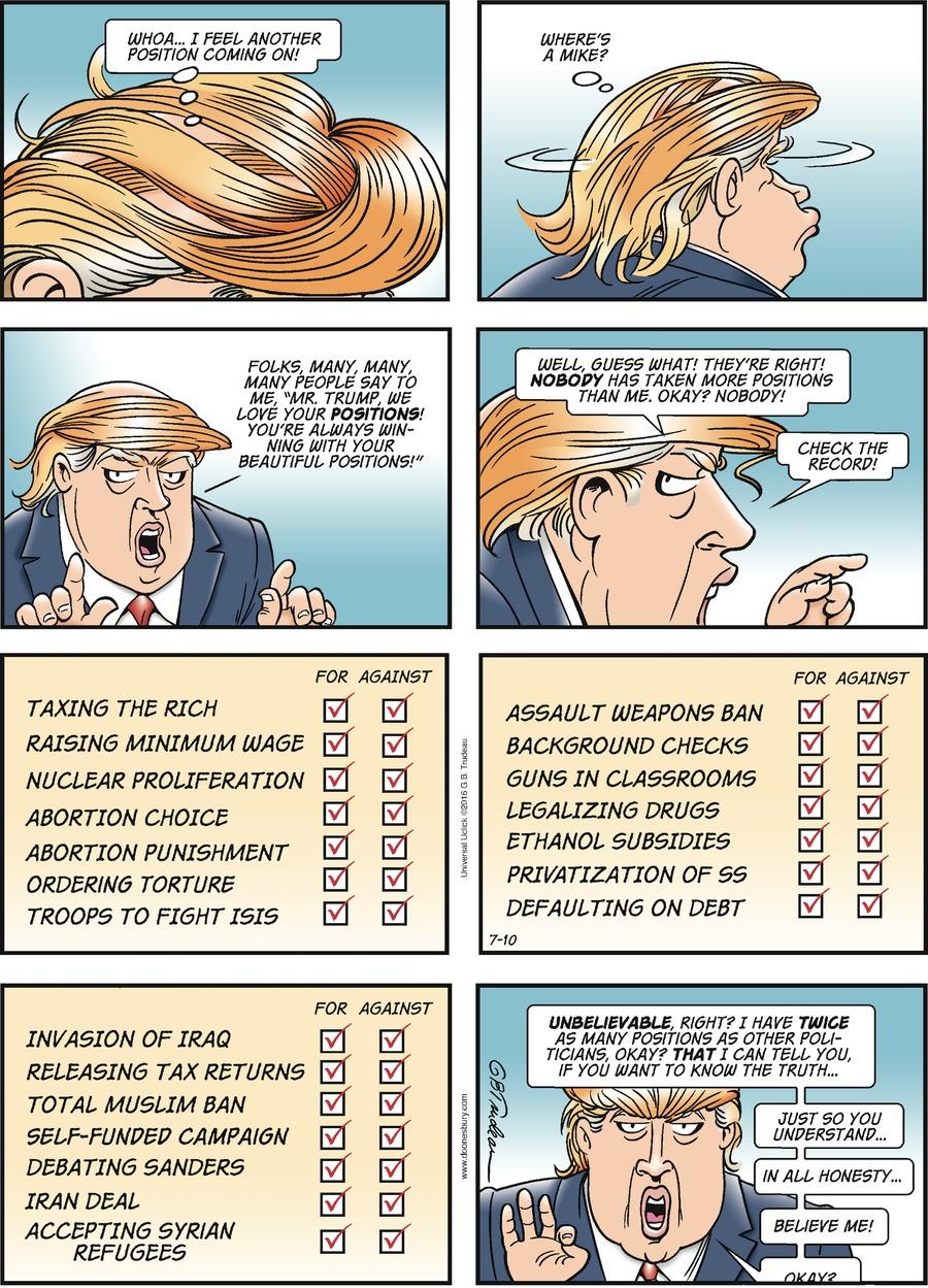 Doonesbury Comic Strip for July 10, 2016
