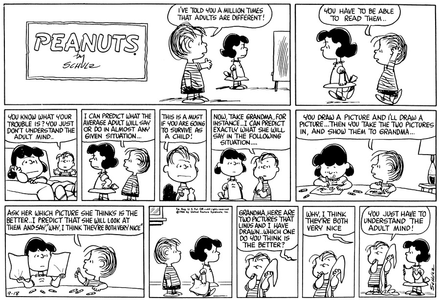 Peanuts Comic Strip for September 18, 1966