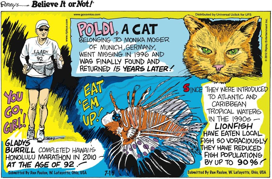 Ripley's Believe It or Not for Jul 15, 2012 Comic Strip