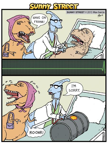 Woman Dinosaur: Hang on Frank!  Doctor: I'm sorry.  Woman Dinosaur: Rooar!