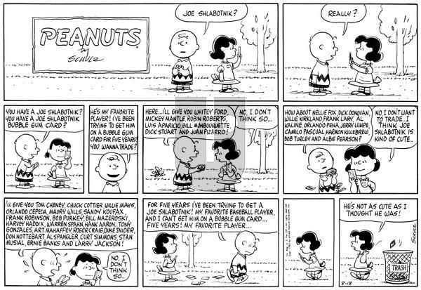 Peanuts on Sunday August 18, 1963 Comic Strip