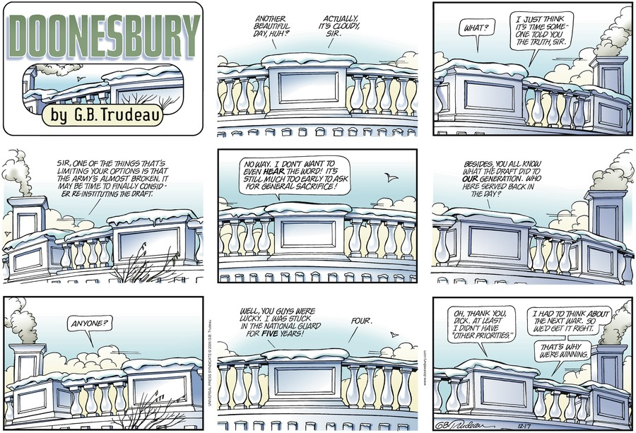 Doonesbury Comic Strip for December 17, 2006