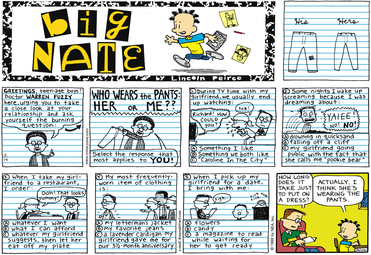 Big Nate Comic Strip for June 14, 1998