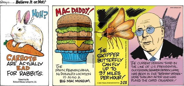 Ripley's Believe It or Not on Sunday February 28, 2021 Comic Strip