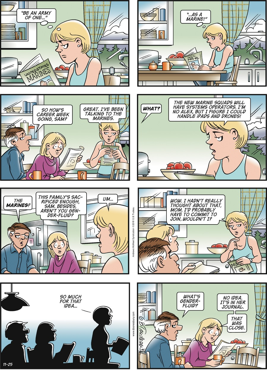 Doonesbury Comic Strip for November 25, 2018