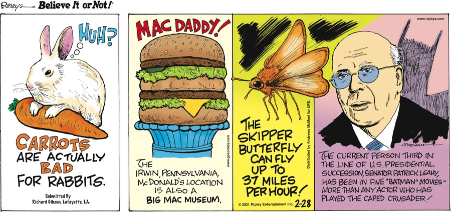 Ripley's Believe It or Not Comic Strip for February 28, 2021