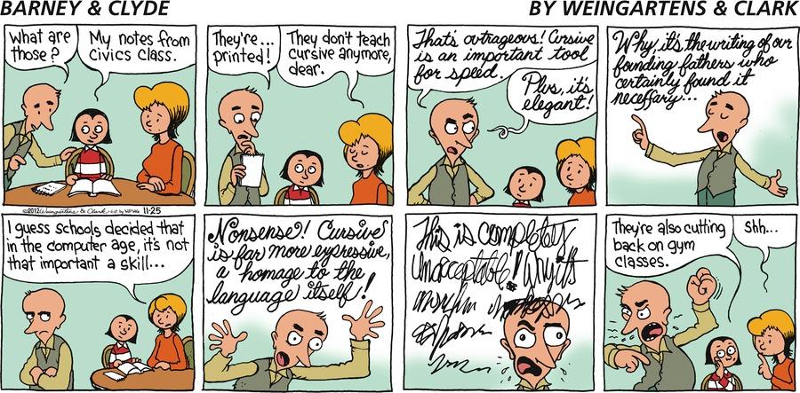Barney & Clyde for Nov 25, 2012 Comic Strip