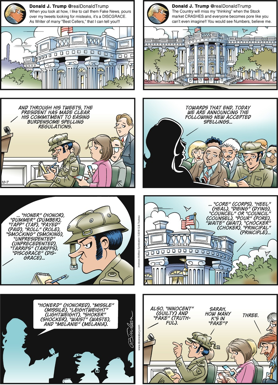 Doonesbury Comic Strip for October 07, 2018