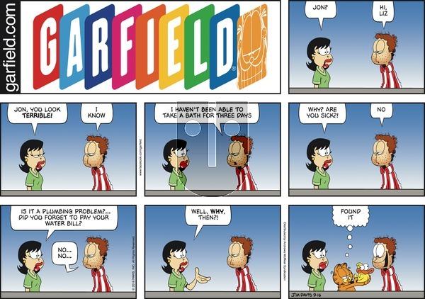 Garfield on Sunday September 16, 2018 Comic Strip