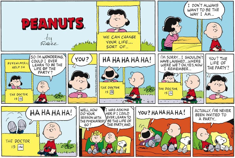 Peanuts Comic Strip for April 04, 1999