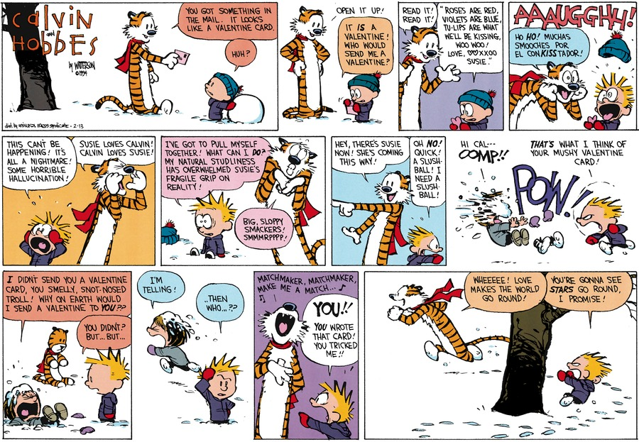 Calvin and Hobbes Comic Strip for February 13, 1994