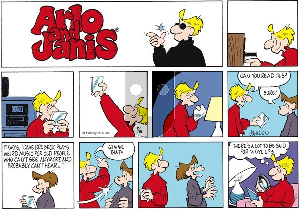 Arlo and Janis on Sunday March 15, 1998 Comic Strip