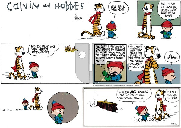 Calvin and Hobbes - Sunday December 30, 2018 Comic Strip