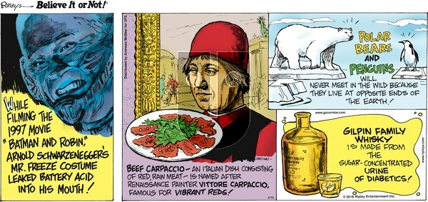 Ripley's Believe It or Not on Sunday April 18, 2021 Comic Strip