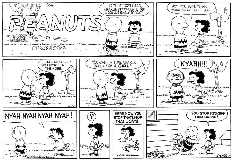 Peanuts Comic Strip for November 10, 1957