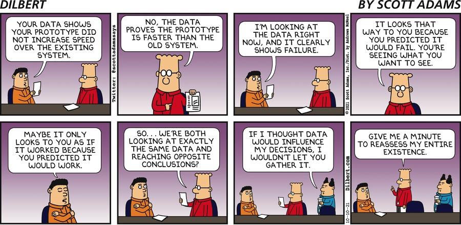 Sunday   Data Looks Two Ways - Dilbert by Scott Adams