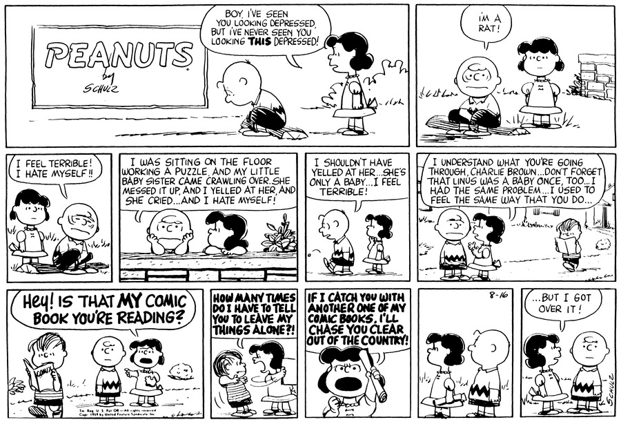 Peanuts Comic Strip for August 16, 1959