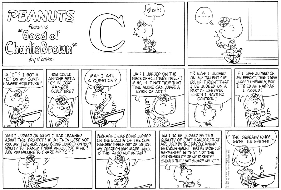 Peanuts Comic Strip for March 26, 1972