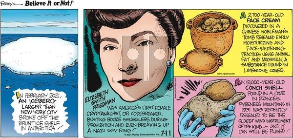 Ripley's Believe It or Not on Sunday July 11, 2021 Comic Strip