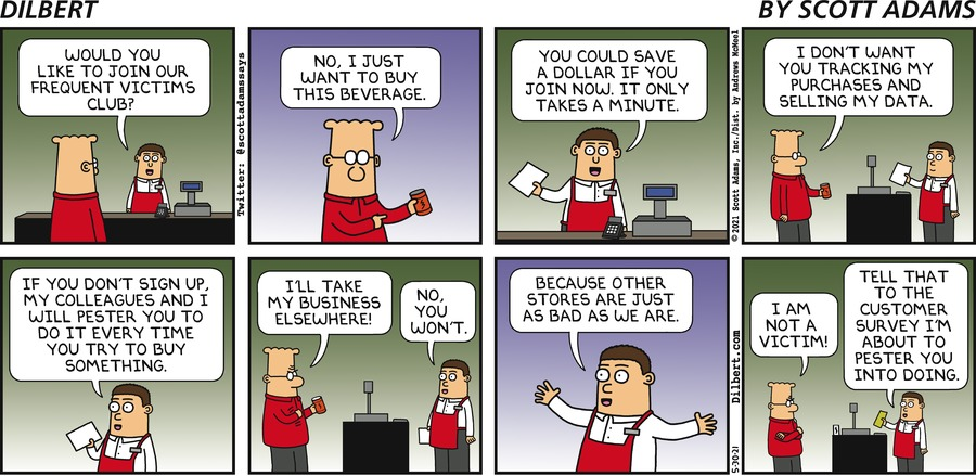 Frequent Victims Club - Dilbert by Scott Adams
