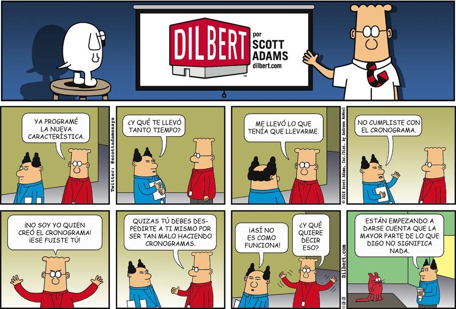 Dilbert en Español by Scott Adams for November 18, 2018
