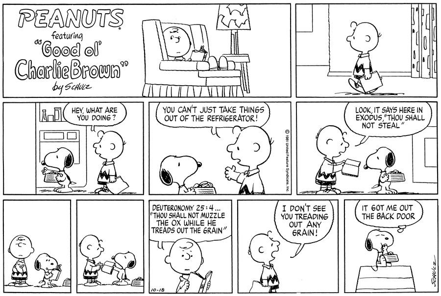 Peanuts for Oct 18, 1981 Comic Strip