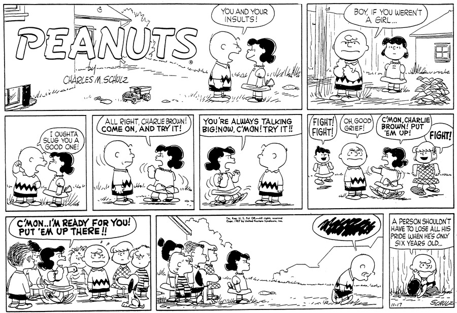 Peanuts Comic Strip for November 17, 1957