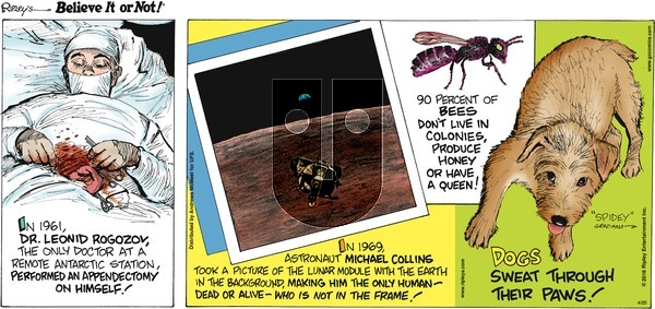 Ripley's Believe It or Not on Sunday April 25, 2021 Comic Strip