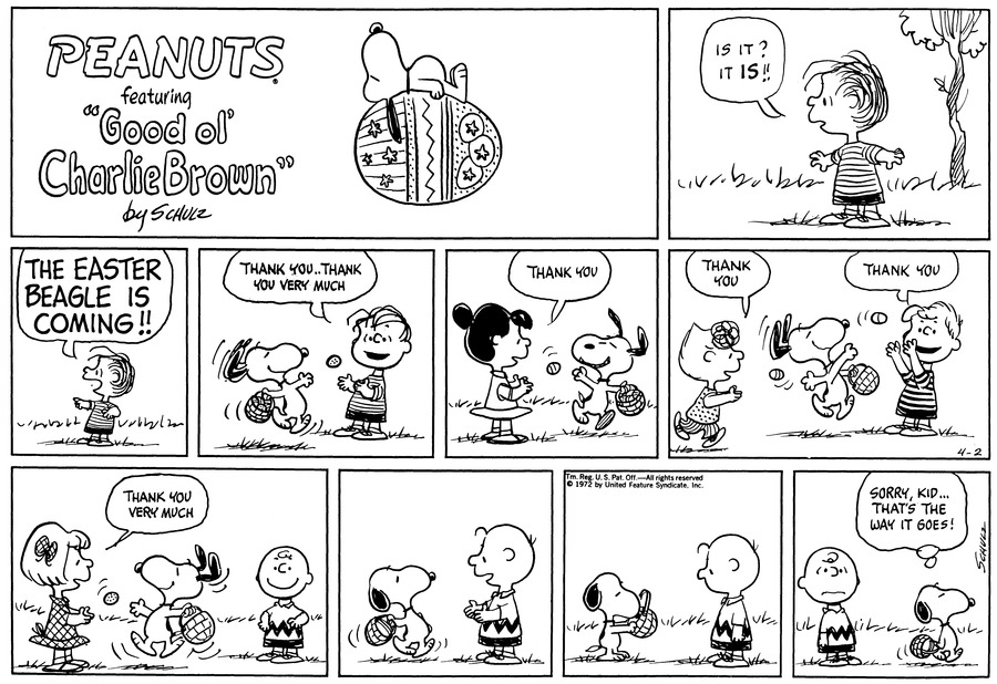 Peanuts Comic Strip for April 02, 1972