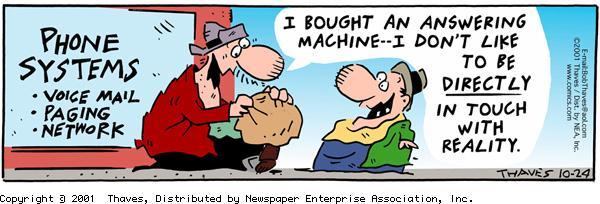 Frank and Ernest Comic Strip for October 24, 2001