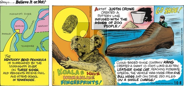 Ripley's Believe It or Not on Sunday October 8, 2017 Comic Strip